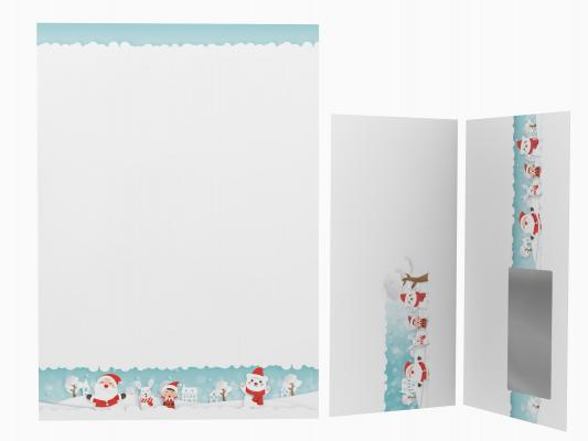 Christmas Stationery Children playing in the Snow