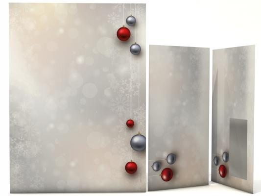 Christmas Stationery Christmas Baubles red and silver